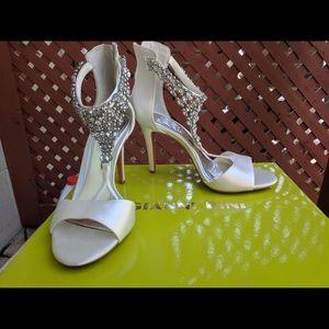 Studded white heels